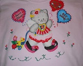 Girls Valentine's Day Tshirt Size Youth Large Pink Kitty and Valentine Ballons