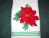 Christmas Hand Towel Poinsetta Bath or Kitchen