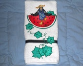 Kitchen or Bathroom Hand Towel Watermelon, Crows and Vines