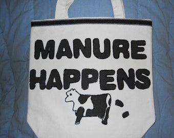 Tote Bag, Purse, Carry-All, Beach Bag-Manure Happens