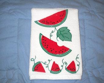 Watermelon Hand Towel, Appliqued Watermelon Kitchen Towel, Appliqued Watermelon Bathroom Hand Towel, Watermelon Home Decor, Hostess Gift