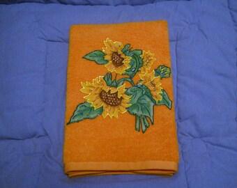 Hand Towel Bathroom or Kitchen Sunflower Bunch on Sherbet Orange