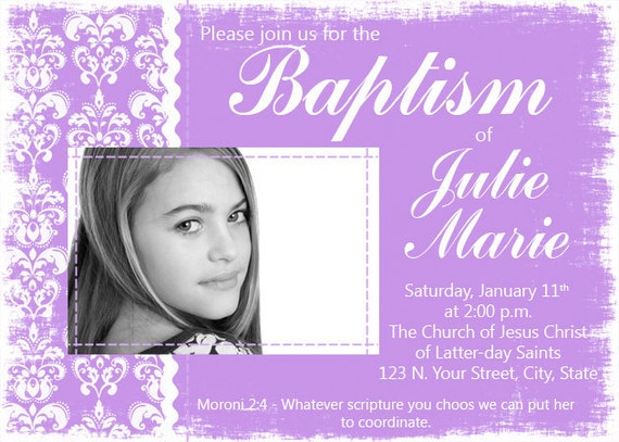 Baptism Invitation - Modern Grunge Damask With Photo - Customizable - Print Your Own