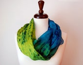 Ombre, Blue, Green, Yellow Circle scarf, Hand dyed Silk