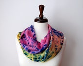 Silk Shibori Circle Scarf, Ombre, pink orange and yellow