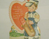 Vintage Valentine card mechanical child saxophone player band musician