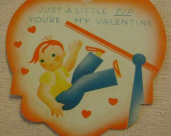 Vintage Valentine's Day Card little boy Tip I'm Falling For You off a see-saw ephemera