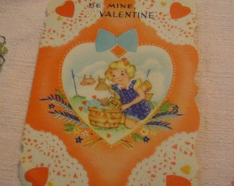 Vintage Valentine's Day Card little girl doing laundry