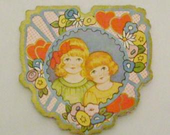 Vintage 1920s Valentine card embossed little girls boy flowers and hearts ephemera