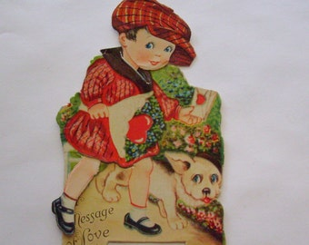Vintage Valentine card mechanical Germany little boy and dog