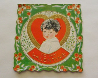 Vintage Valentine's Day card Carrington embossed little boy