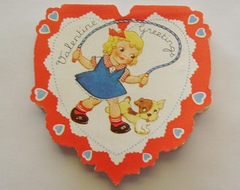 Vintage Valentine's Day Card heart shaped little girl jumping rope with dog ephemera