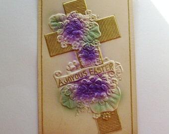 Antique Easter postcard embossed Cross with African violets airbrushed ephemera ephemera