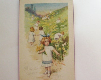 Antique Easter postcard Edwardian girls picking flowers signed Lyman Powell