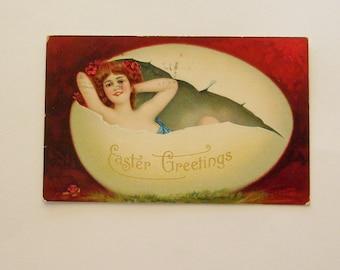 Antique German Easter postcard Edwardian lady in egg ephemera