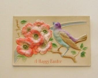Antique German Easter postcard silk embossed flowers and bird ephemera