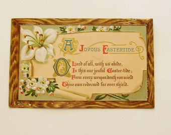 Antique Easter postcard flowers and poem