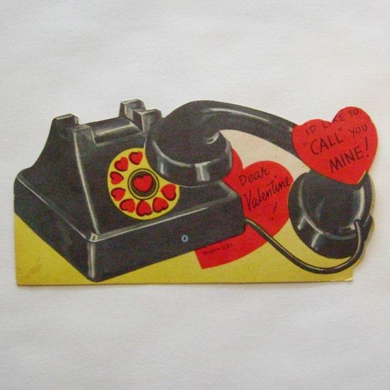 Vintage Valentine card die cut rotary telephone