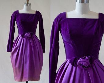 Vintage 60s Purple Silk Velvet Bridesmaid Dress / Tulip Skirt / xs