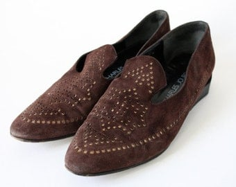 Brown Suede Flats / Southwest Cutout Motif / Charles Jourdan / Loafers Smoking Shoes / 7.5
