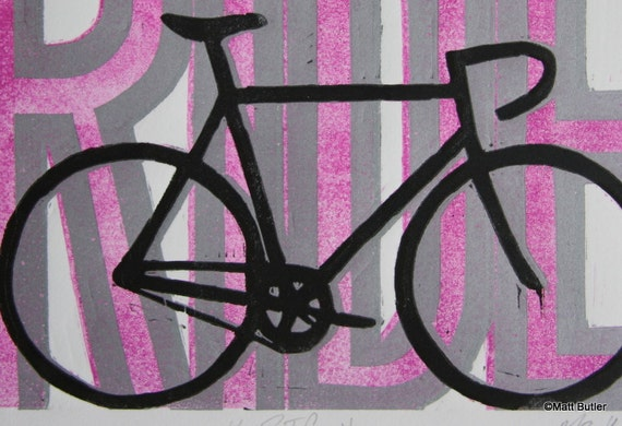 Pink Bike Linocut Reduction Print 23