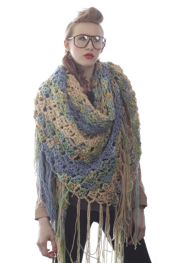 SALE - Summer Seaside Shell Scarf/Shawl - Ready to ship