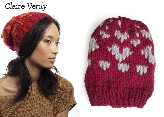 SAMPLE SALE - Seeing Hearts knit in Red and White - Free Shipping