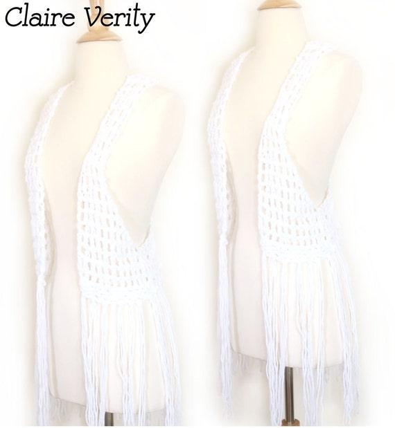 Wildchild Crochet Fringe Knit Vest - White