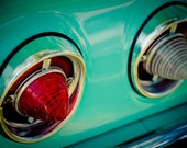 Classic Chevrolet Impala Cone Tail Lights - Graphic Teal and Red Wall Art - Muscle Car Art - Googie Home Decor - Fine Art Photography