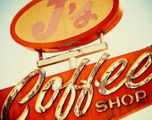 J's Coffee Shop Vintage Neon Sign - As Seen on Vintage and Flea - Retro Kitchen Decor - Historic Highway 99 - Fine Art Photography