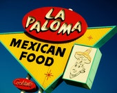 Route 66 La Paloma Mexican Food Sign - Mid Century Modern Decor - Retro Kitchen Decor - Googie Hostess Gift - Fine Art Photography