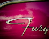Classic Plymouth Fury Chrome Emblem - Classic Car Art - Car Typography - Colorful Wall Art - Retro Home Decor - Fine Art Photography