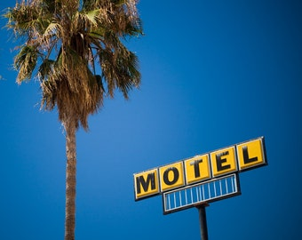 Yellow Motel Sign - Retro Home Decor - Mid Century Modern Wall Art - Blue and Yellow Decor - Old Sign Letters - Fine Art Photography