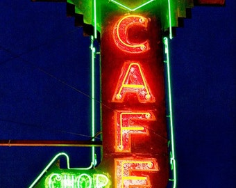 Route 66 Grand Canyon Chop Suey Neon Sign - Route 66 Art - Retro Kitchen Decor - Flagstaff Arizona - Fine Art Photography