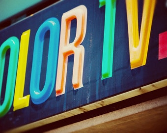 Motel Color TV Sign by RCA - Road Trip Inspired - Vintage Sign Art - Colorful Wall Decor - Retro Motel Decor - Fine Art Photography