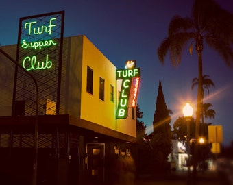 Turf Supper Club - Vintage Neon Sign at Night - San Diego Home Decor - Retro Kitchen Wall Art - Guy Gift - Fine Art Photography