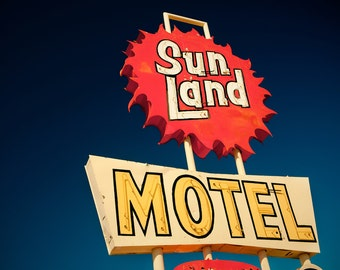 Vintage Sun Land Motel Neon Sign - Mesa Arizona - Retro Home Decor - Mid Century Modern - Road Trip Inspired - Fine Art Photography