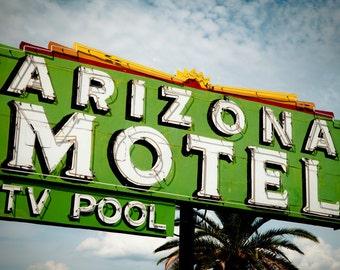 Arizona Motel Neon Sign - Tucson - Retro Home Decor - Road Trip Inspired - Vintage Wall Art - Green White - Fine Art Photography