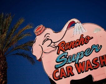 Rancho Super Car Wash Vintage Neon Sign - Rancho Cucamonga California - Giant Pink Elephant - Retro Home Decor - Fine Art Photography