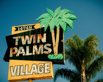 Twin Palms Village Vintage Neon Sign - Whittier - Vintage Los Angeles - Southern California Inspired Decor -  Fine Art Photography