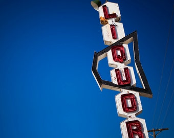 Vintage Liquor Store Sign - Los Angeles Art - Retro Bar Decor - Arrow Sign - Red and Blue Decor - Typography - Fine Art Photography