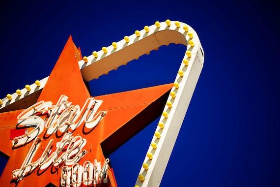 Los Angeles Starlite Room Neon Sign - Vintage Bar Decor - North Hollywood Art - Blue Orange White - Fine Art Photography