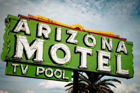 arizona motel neon sign tucson retro home decor road trip inspired vintage
