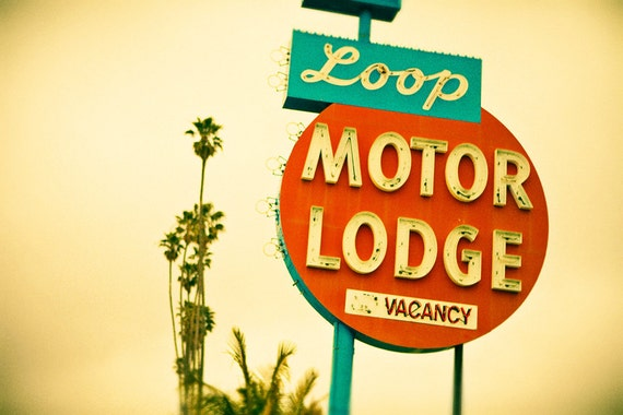 Loop Motor Lodge Neon Sign - Googie Retro Home Decor - Midcentury Modern Wall Art - Vintage Office Decor - Fine Art Photography