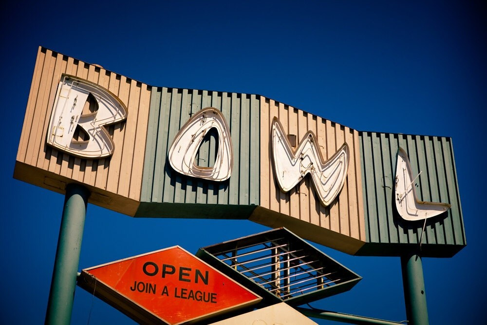 Googie Bowling Alley Neon Sign Mid Century Modern Los