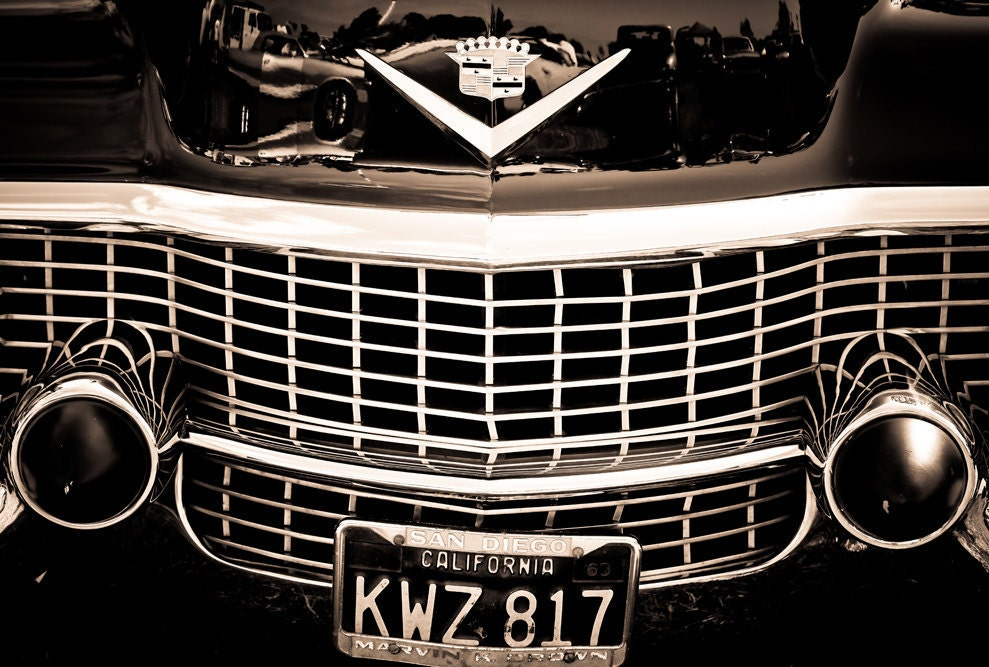 Black and white cadillac grill and emblem mancave wall art zoom sciox Gallery
