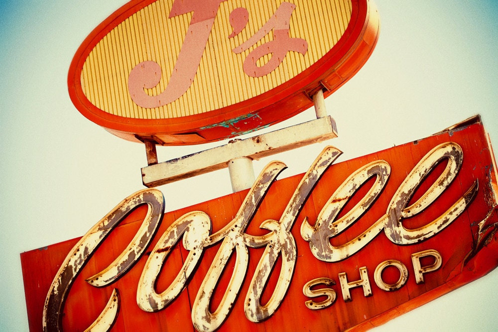 coffee shop vintage neon sign as seen on vintage and