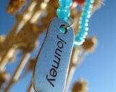 Journey-Teal Blue Glass Bead  and silver Necklace-Adjustable and Reversible