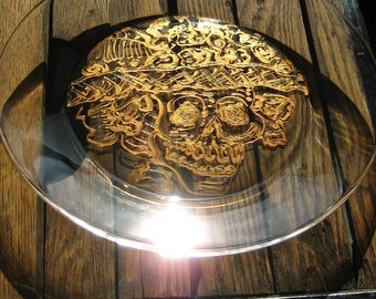 Sugar Skull Glass Plate - Handpainted-Gold- Day of the Dead Skull in Flowered Hat