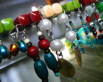 Charm Sticks- Fashion Chop Sticks- Burgundy Melamine with Teal and Red Wood Beads